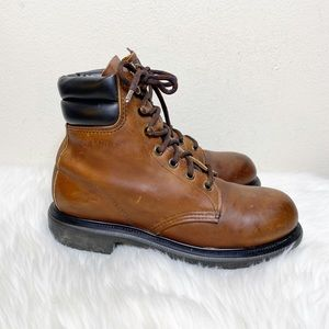 Red Wing Steel Toe Brown Leather Work Boots 7 B